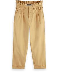Scotch & Soda High-rise Ruffle Belted Twill Chino - Natural