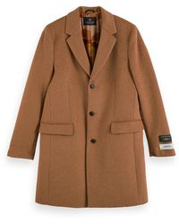 Scotch & Soda Classic Wool-blend Single Breasted Overcoat - Brown