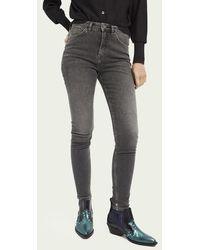 Scotch & Soda Haut High-rise Skinny Jeans Met Gerecycled Katoen – Snowstorm - Grijs