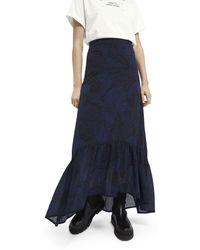 Scotch & Soda Patterned High-low Maxi Skirt - Blue