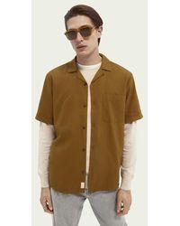 Scotch & Soda Gestructureerd Overhemd Met Korte Mouwen - Bruin