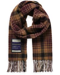 Scotch & Soda Soft Wool-blend Checked Scarf - Brown