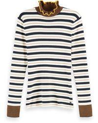 Scotch & Soda 100% Cotton Striped Rib Knit Turtleneck - Multicolour