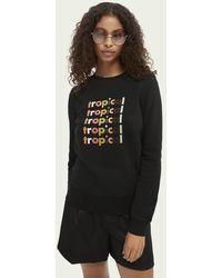 Scotch & Soda Sweater Met Grafische Print - Wit