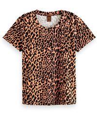Scotch & Soda Cotton Animal Print T-shirt - Brown