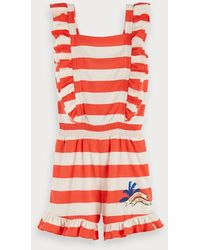 Scotch & Soda Gestreepte Jersey Playsuit - Rood