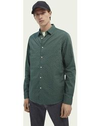 Scotch & Soda Poplin Overhemd Met Print - Groen