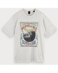 Scotch & Soda T-shirt Met Burn-out Artwork - Grijs