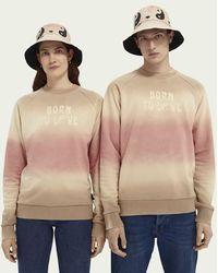 Scotch & Soda Born To Love Unisex Sweater Met Ronde Hals Van Een Katoenmix - Naturel