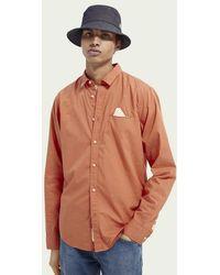 Scotch & Soda Regular Fit Katoenen Overhemd - Oranje