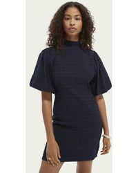 Scotch & Soda Mini-jurk Met Volumineuze Mouwen - Blauw