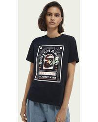 Scotch & Soda T-shirt Van Biologisch Katoen Met Print - Blauw