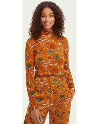 Scotch & Soda Printed High-neck Slim-fit T-shirt - Orange