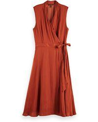 Scotch & Soda Sleeveless Midi Wrap Dress - Orange