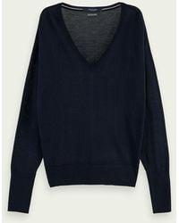 Scotch & Soda Sweat-shirt à manches longues et col V 100 % laine mérinos - Bleu