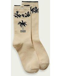 Scotch & Soda Sokken Van Een Katoenmix Met Palmbomen - Naturel