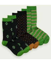 Scotch & Soda 3-pack Sokken Met Print Van Een Katoenmix - Groen
