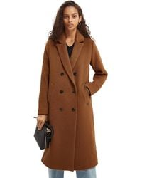 Scotch & Soda Double-breasted Wool-blend Coat - Brown