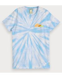 Scotch & Soda Tie-dye T-shirt - Blauw