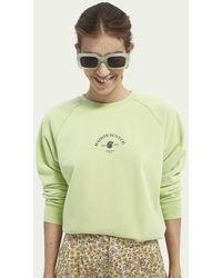 Scotch & Soda Grafische Sweater Van Een Katoenmix - Groen