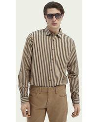 Scotch & Soda Regular Fit Gestreept Katoenen Overhemd - Bruin
