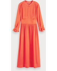 Scotch & Soda Satijnen Midi-jurk - Rood