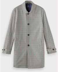 Scotch & Soda Plaid Trenchcoat - Grijs