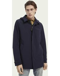 Scotch & Soda Stretch Trench Coat With Removable Hood - Blue