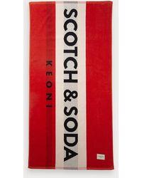 Scotch & Soda Strandhanddoek Met Logo - Rood