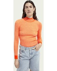Scotch & Soda Geribbelde Sweater Van Een Linnenmix - Oranje