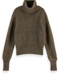 Scotch & Soda Half-zip Wool-blend Turtleneck - Green