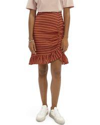 Scotch & Soda Ruffled Striped Skirt - Multicolour