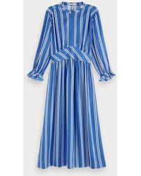 Scotch & Soda Satijnen Midi-jurk Met Print - Blauw
