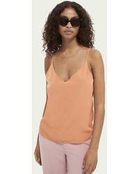 Scotch & Soda Jersey Hemdje Met V-hals - Oranje