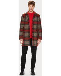 Scotch & Soda Brushed Tartan Wool-blend Coat - Red