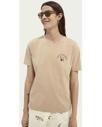 Scotch & Soda Relaxed Fit T-shirt Van Biologisch Katoen Met Grafische Print - Naturel