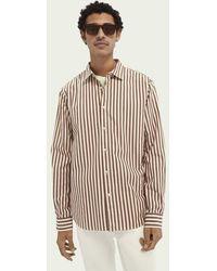 Scotch & Soda Regular Fit Gestreept Katoenen Overhemd - Rood