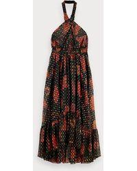 Scotch & Soda Midi-jurk Met Bladerenprint - Zwart