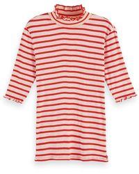 Scotch & Soda Ribbed Ruffle Hem High Neck T-shirt - Red