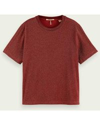 Scotch & Soda Loose Fit Metallic T-shirt - Rood