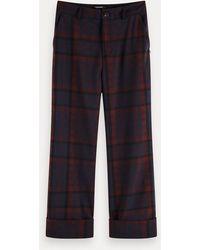 Scotch & Soda Mid Rise Geruite Pantalon - Rood