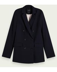 Scotch & Soda Blazer long à double boutonnage - Noir