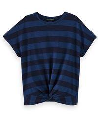 Scotch & Soda 100% Cotton Short Sleeve Twist Front T-shirt - Blue