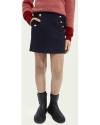 Scotch & Soda Mini jupe en jersey de coton avec boutons - Noir