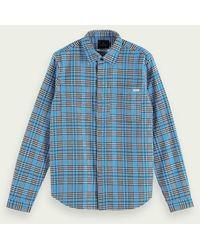 Scotch & Soda Middelzwaar Overhemd Van Biologisch Flanel - Blauw