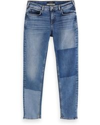 Scotch & Soda The Keeper - City Patchwork Mid-rise Slim-fit Jeans - Blue