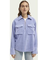 Scotch & Soda Geripptes Shirt im Utility-Style - Blau