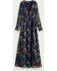 Scotch & Soda Metallic Maxi-jurk Met Lange Mouwen - Blauw