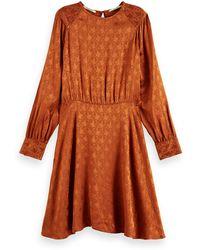 Scotch & Soda Asymmetric Peplum Hem Midi Dress - Brown