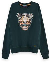 Scotch & Soda Long Sleeve Cotton Artwork Sweatshirt - Green